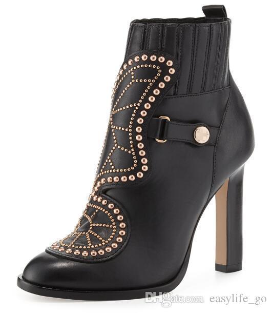 Sophia Webster kelebek ayak bileği çizmeler kadın blok yüksek topuklu altın perçinler çivili çizmeler rugan ayakkabı kadın ilkbahar kış marka çizmeler
