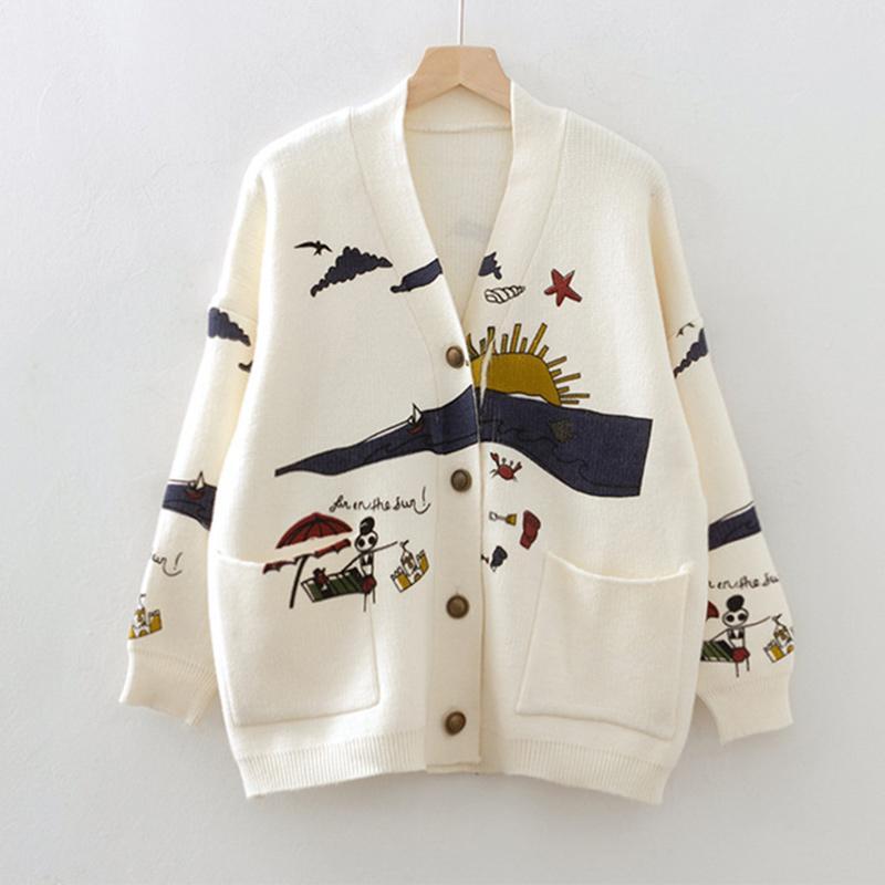 Femme Cardigan col V tricot Pull japonais Mori fille manches longues femmes Pull unique poitrine 2019 Vêtements Femme Automne