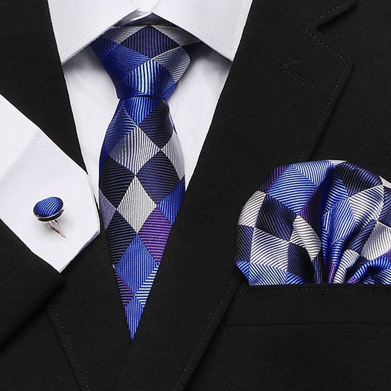Sıcak İleri Teknoloji Seti Tie Erkek Resmi Giyim İş Tie Cep Kare Kol Düğmeleri