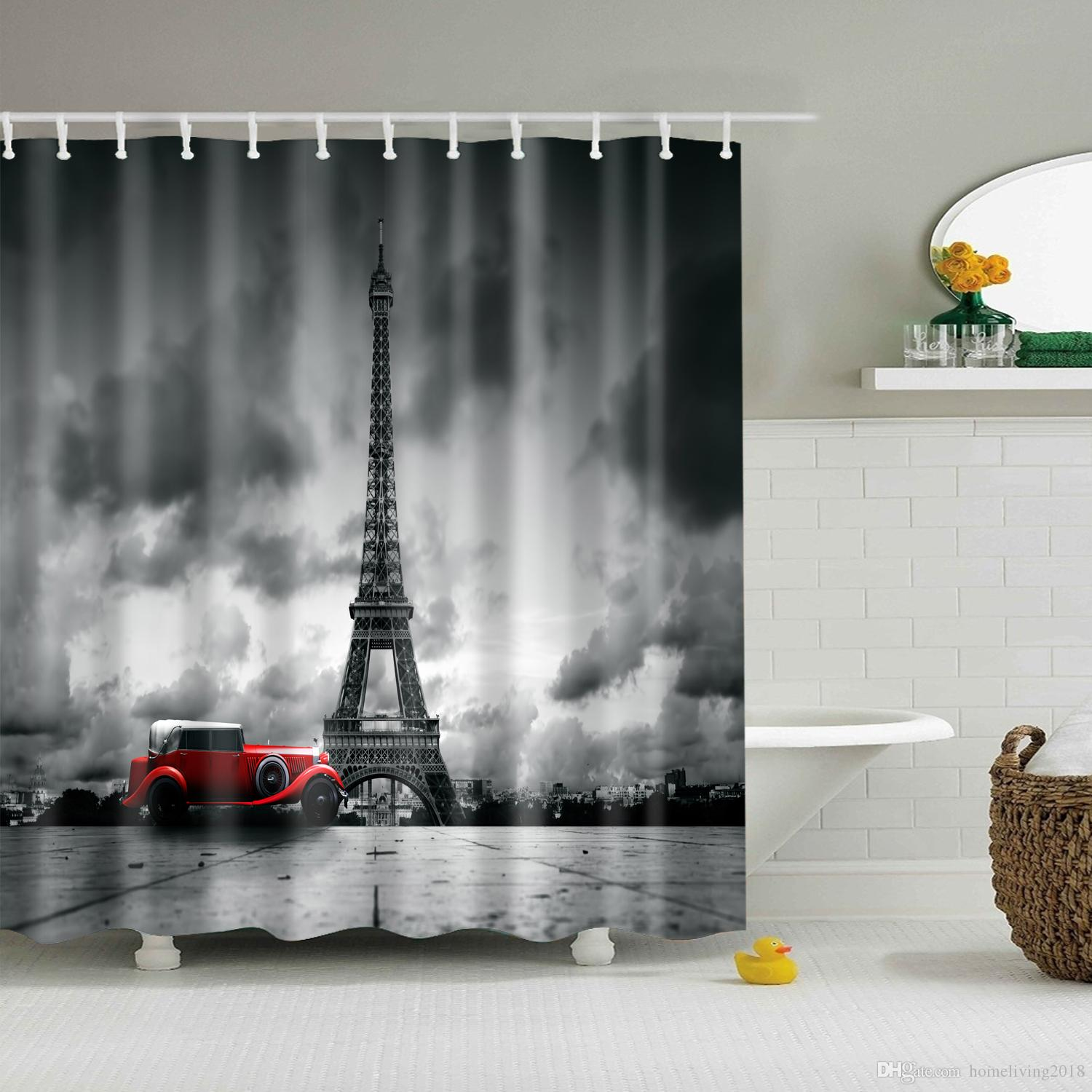 2019 Fabric Shower Curtain Country Decor Style Decorations For Bathroom Print Vintage Rustic Theme Decor Home Antiqued With Curtain Rings Hooks From