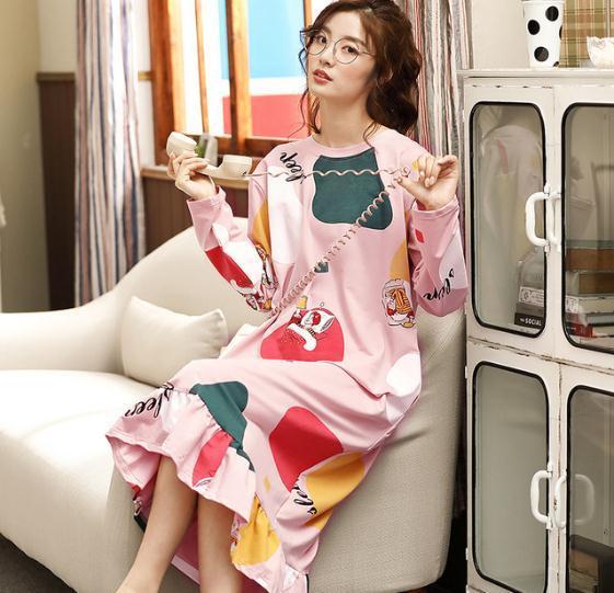 Women's Sleepwear Underwear Knee length nightdress female Sweet Long sleeved pajamas External wear Simplified Korean Edition home clothes