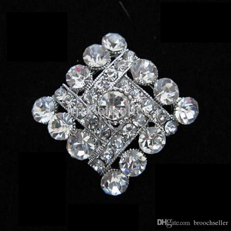 Plata aleación plateada y Rhinestone Crystal Rhomb Shape broche pequeña