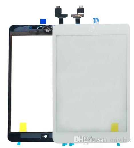 For iPad mini 1 2 Outside Touch Screen Digitizer with Home Button +Adhesive + IC Connector Touch Panel Replacement Assembly Free Tool Kit