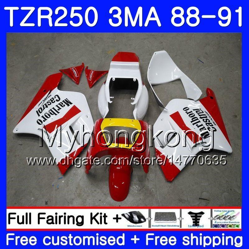 Corpo per YAMAHA TZR250RR RS RR YPVS TZR250 88 89 90 91 244HM.0 TZR-250 TZR250 3MA TZR 250 1988 1989 1990 1991 Kit carenatura di fabbrica colore rosso
