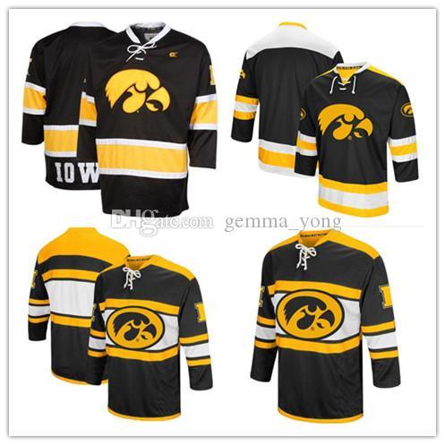 Personnalisé Iowa Hawkeyes NCAA College Jerseys Hommes Personnalisé N'importe Quel Nom N'importe quel Nombre De Bonne Qualité Hockey Sur Glace Pas Cher Jersey S-4XL