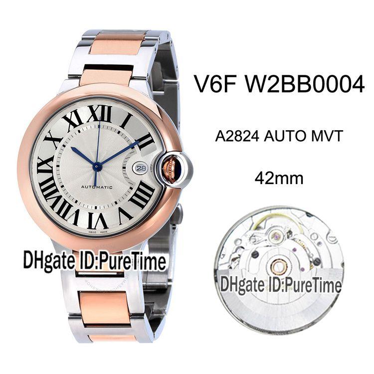 Yeni V6F W2BB0004 ETA A2824 Otomatik Erkek İzle İki Ton Rose Gold Beyaz Roman İşaretleyiciler Paslanmaz Çelik Bilezik En Sürümü Puretime 3 Dial