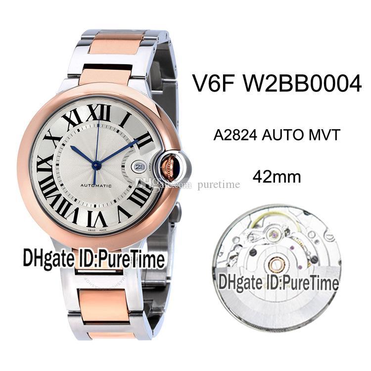 Novo V6F W2BB0004 ETA A2824 Mens Automático Assista Dois Tom Rosa Ouro Branco Dial Marcadores Romanos Pulseira De Aço Inoxidável Melhor Edição Puretime 3
