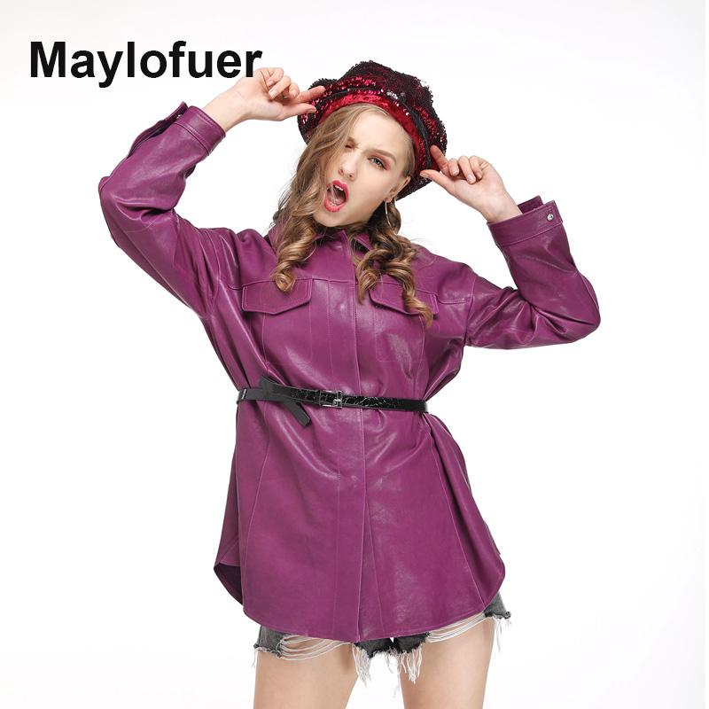 Damen Leder Faux Maylofuer 2021 Mode Echte Jacken Frauen Frühling Herbst Winter Schwarz Basic Mantel Abzugskragen Bikerjacke