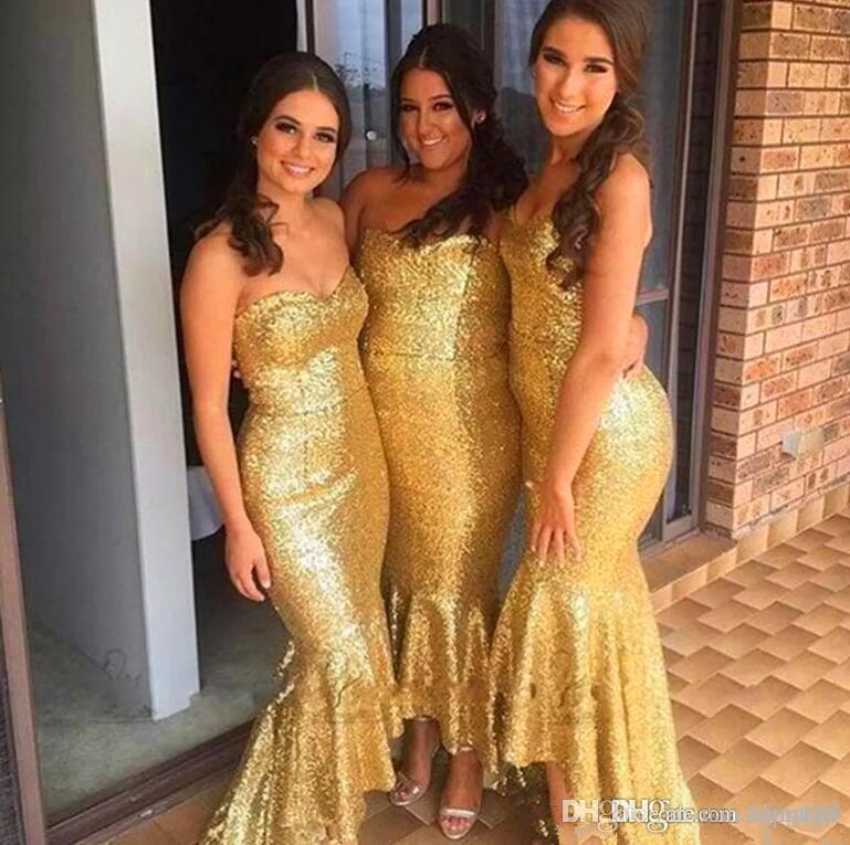 Sexy Amazing Gold sequined Bridesmaid Dresses Fashion high low sweetheart Off-Shoulder Mermaid Formal Maid Of Honor Dresses Gowns Vestidos