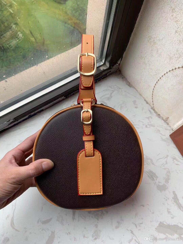 2019 yeni basılmış deri çanta küçük yuvarlak çanta Retro asılı omuz çantası, mini makyaj çantası gelgit