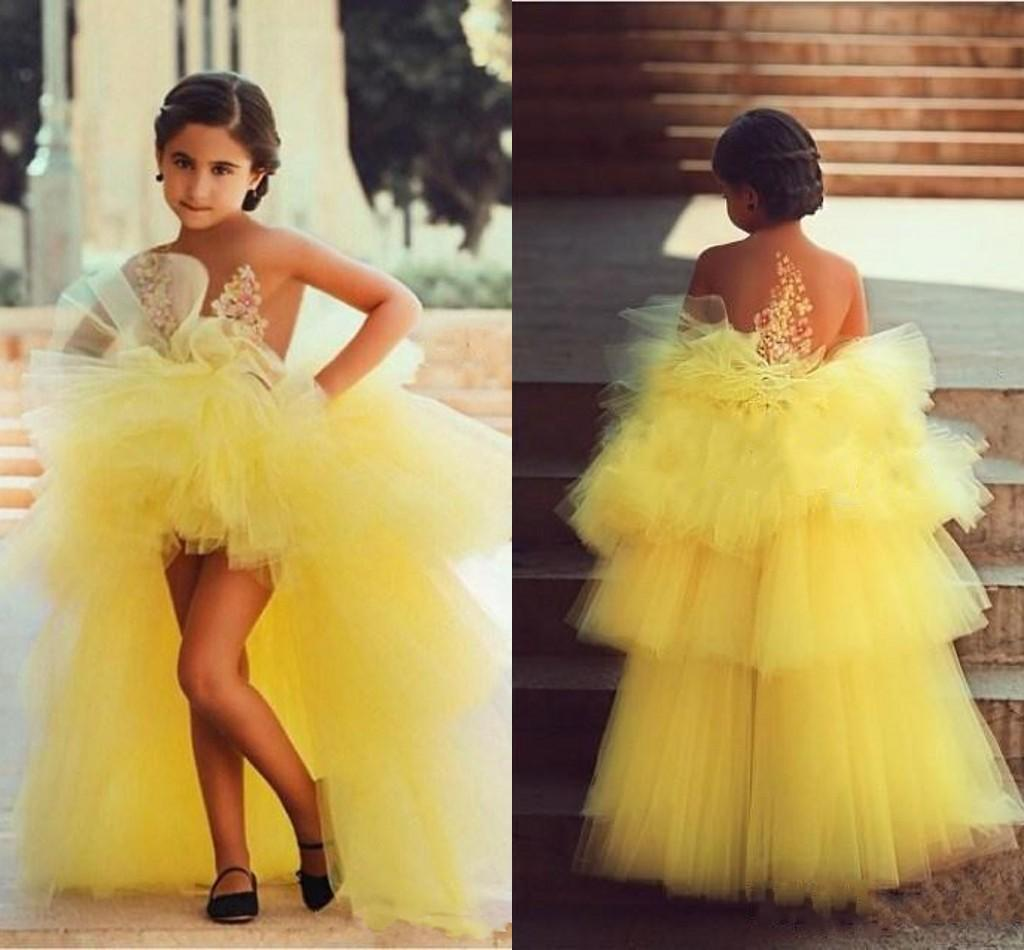Yellow Kids Formal Party Wear A Line High Low Tulle Little Girls Pageant Gowns with Appliques 2020 Flower Girl Dress