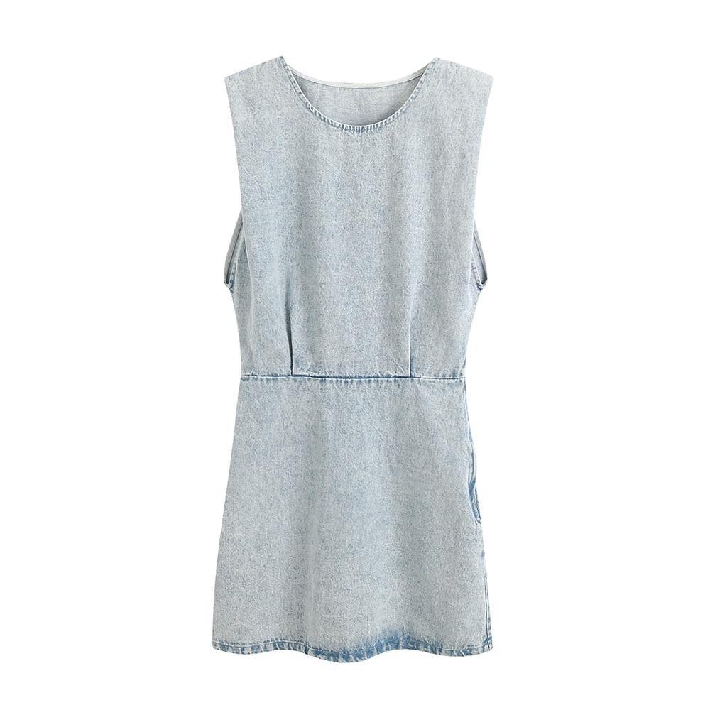 2020 été nouveau épaulette sans manches col rond féminin jupe denim tendance taille minceur mini robe