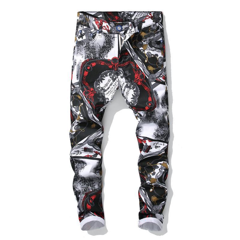 Compre Cadena Floral Europea 3d Print Jeans Moda Para Hombre Blanco Negro Color Dibujo Stretch Denim Pants Moda Slim Fit Streetwear A 29 32 Del Cactuse Dhgate Com