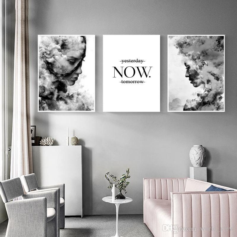 3 шт. Nordic Foggy Girl Плакат Черно-Белые Wall Art Холст Картины Абстрактного Минимализма Цитата Настенные Панно для Гостиной Home Art