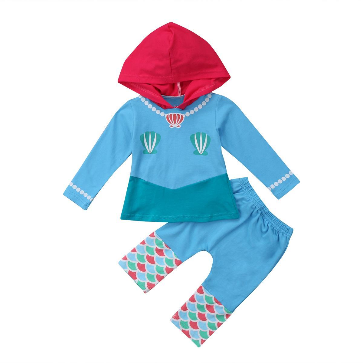 2018 cabritos de la manera de los bebés Sirenita con capucha y camisetas Pantalones largos Equipe juego de ropa lindo