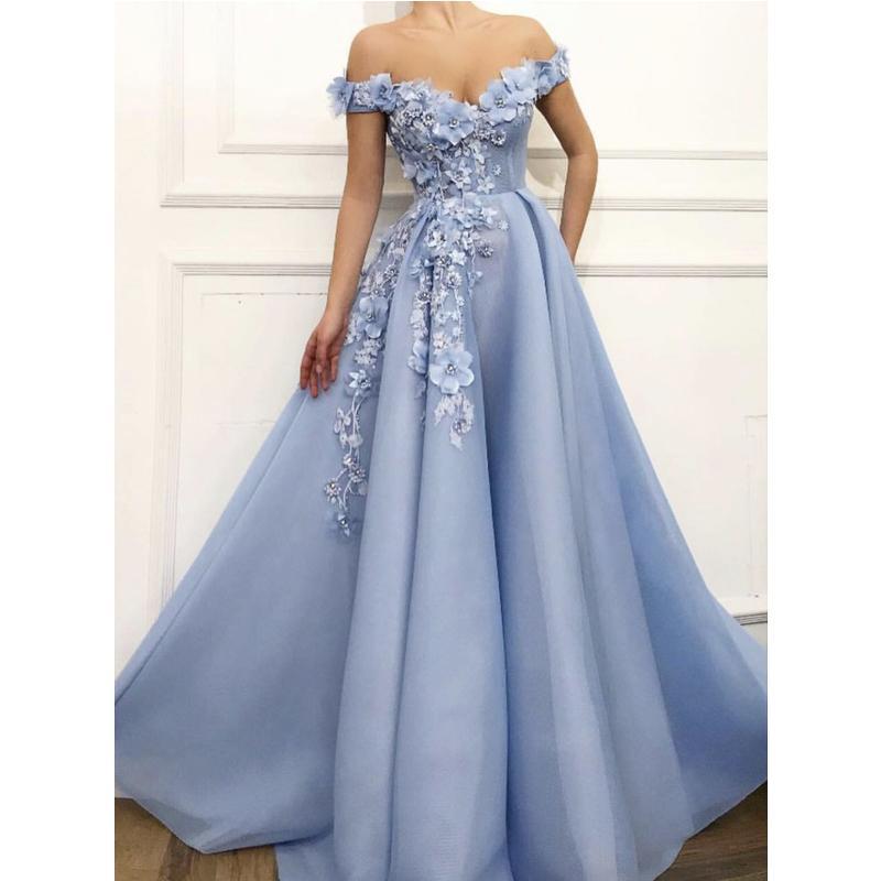 Appliqued florais elegantes vestidos de baile Lace 3D Pérolas Vestido A Linha Off the Shoulder Vestidos Ocasião Custom Made especiais