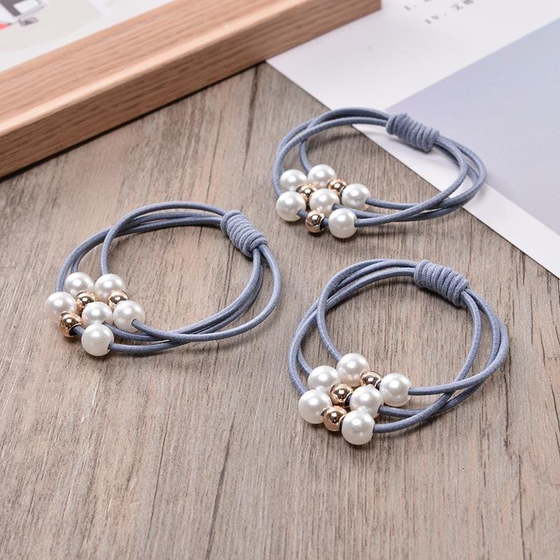 Pearl Elastic Three Layer Rubber Bands Ring Headwear Girl Elastic Hair Band Ponytail Hair Rope Girl Hair Jewelry
