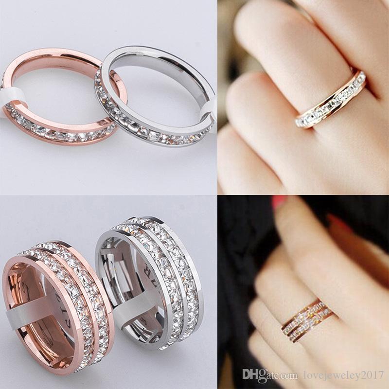 Oro rosa singola e doppia fila piccola piazza diamante 18k in acciaio inox Anelli Oro Argento sposa anelli a fascia inserimento di modo del diamante