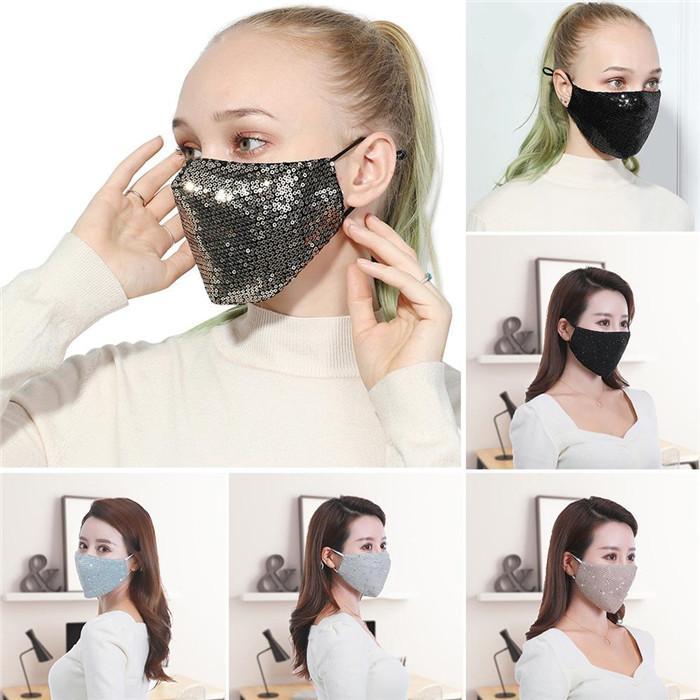 Cara de lujo diseñador de la máscara máscaras del partido de Cosplay facial protectora reutilizable anti-polvo caliente máscara a prueba de viento Las mujeres del algodón de Bling Bling de la cara