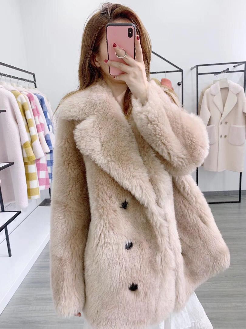 100% Wool Fur Coat Women Shearling Jacket Long Sleeve Faux Suede Lining Lady's Fur Jacket Super Cheap rf1933