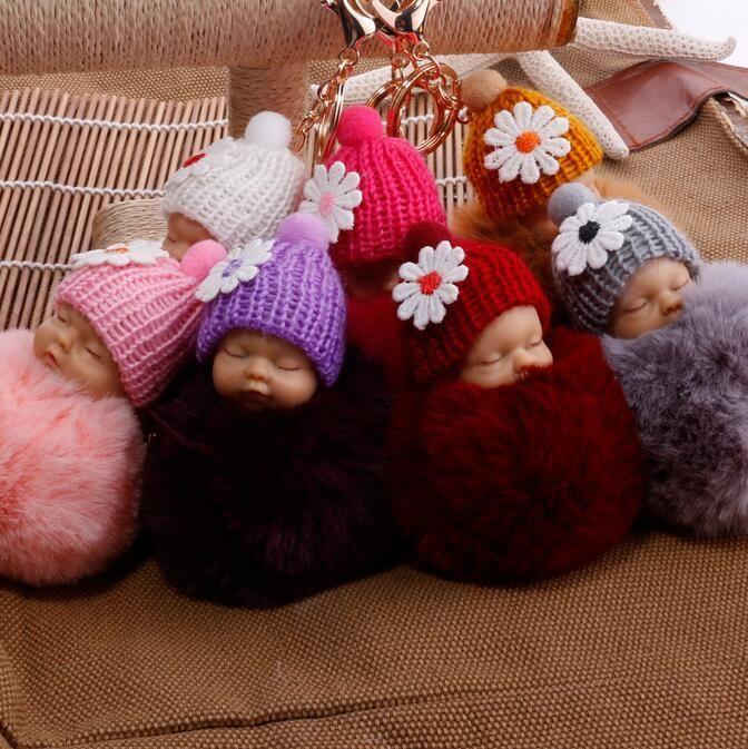귀여운 잠자는 아기 인형 키 체인 응원 헬멧 토끼 모피 볼 카라비너 키 체인 열쇠 고리 키 홀더 가방 펜던트 열쇠 고리 선물