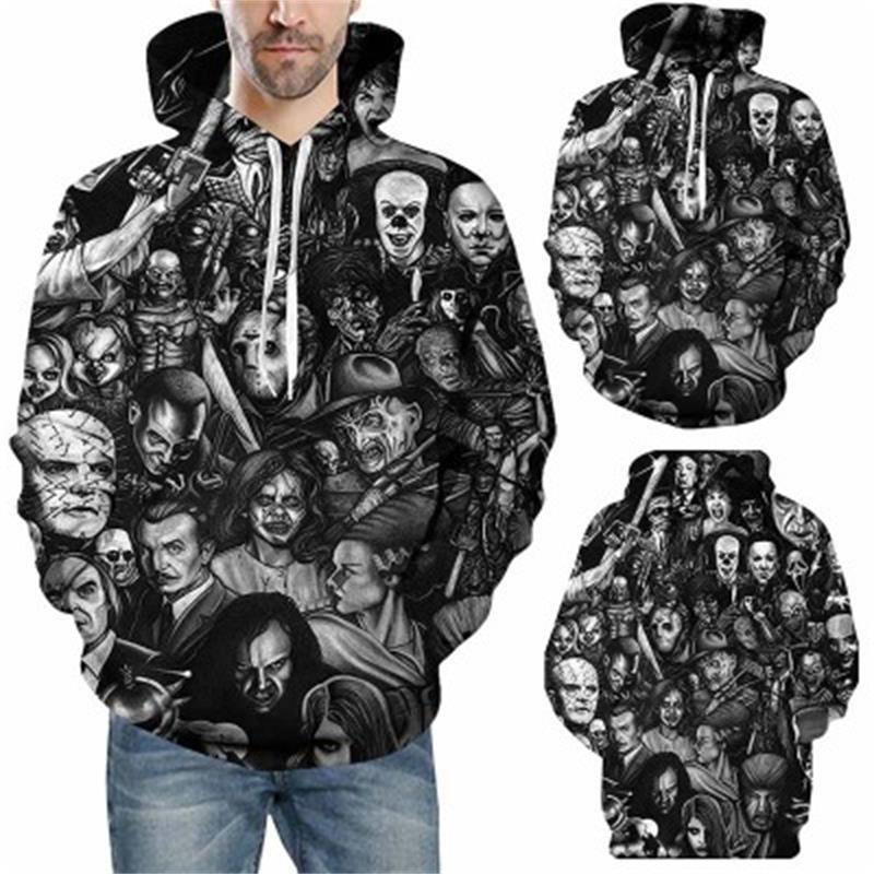 Uomini Horror Clown autunno coulisse 3D Stampato Hoodies uomini donne paio con cappuccio 3D Stampa Hoody casuale Pullover Streetwear TopsMX190903
