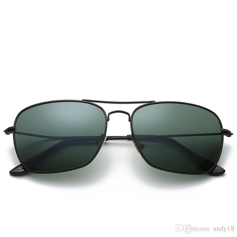 جودة عالية أزياء مستطيل نظارات شمسية للرجال إمرأة نظارات الفاصوليا الحمراء ماركة نظارات الشمس نظارات سوداء معدنية 58 ملليمتر 3136 أسود وصندوق