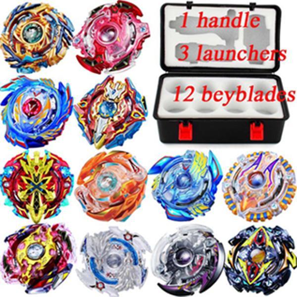 12 beyblades مجموعة جديدة beyblade burst بك شفرة لعبة معدن funsion bayblade مجموعة تخزين مربع مع مقبض قاذفة مربع البلاستيك لعب للأطفال