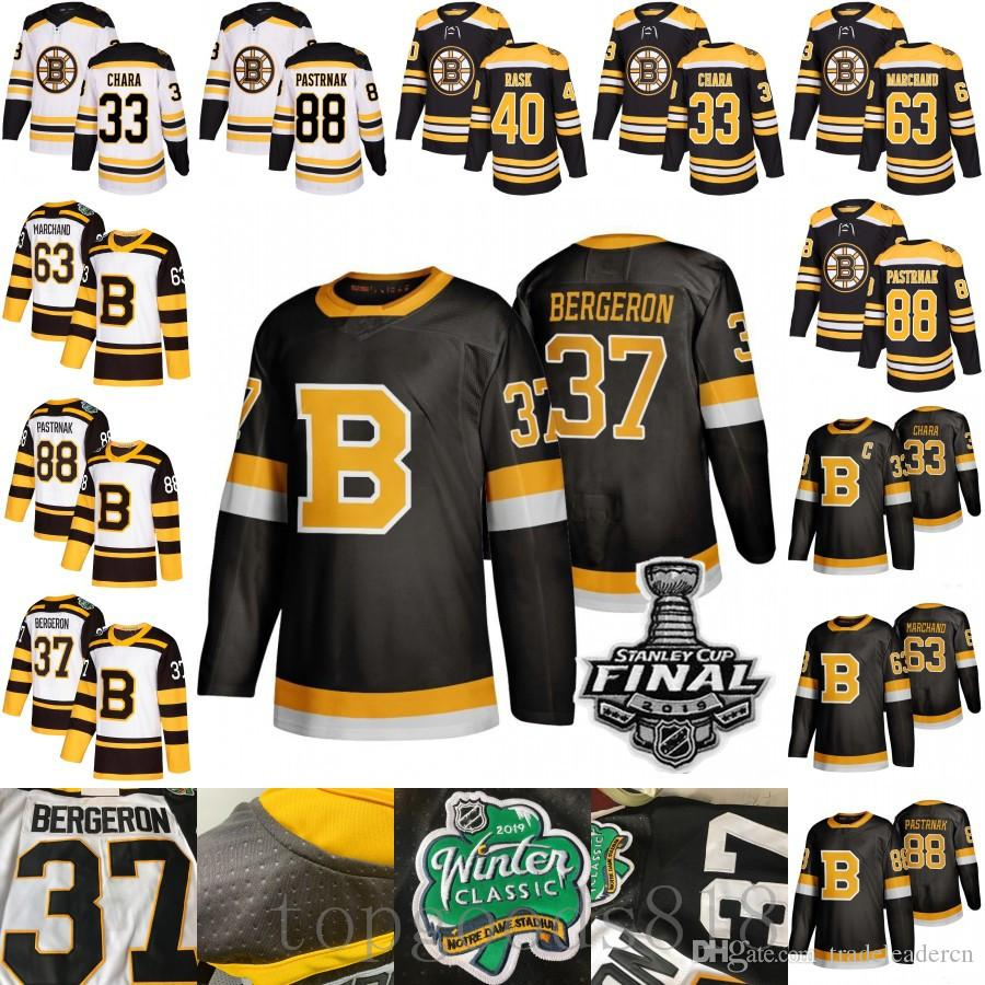 Terceiro Negro Boston Bruins 37 Patrice Bergeron Brad Marchand Tuukka Rask David Pastrnak Krejci Zdeno Chara 2019 Inverno Clássico Hóquei Jerseys