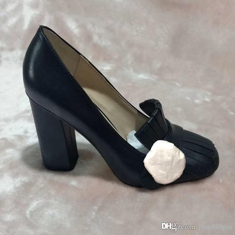 cuir de vachette authentique luxe designer talons hauts printemps automne Sexy Bar Banquet Chaussures de mariage talon épais bateau chaussures boucle en métal femme Chaussures 42