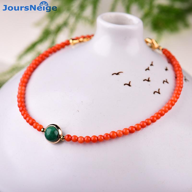Wholesale Red South Natural Crystal Anklets Round Bead size 5mm Beauty Anklet Chain Women Girl Lucky Anklet Simple Style Jewelry