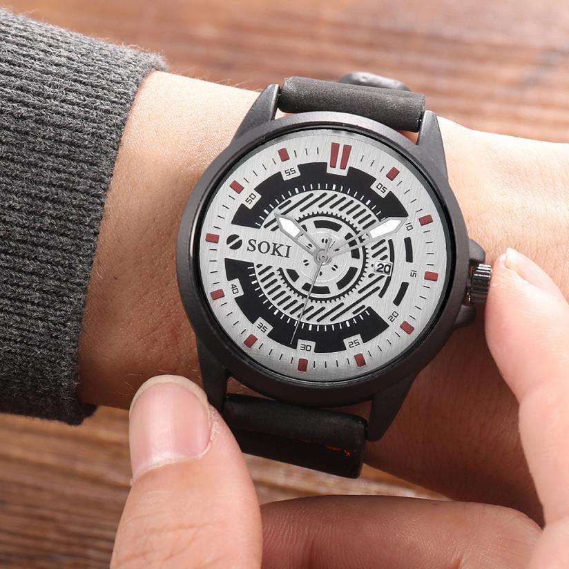 1Mens Saatler Üst Marka Lüks Moda Naylon Kayış Erkekler İzle Geniş Dial Spor Askeri Analog Kuvars Yuvarlak Bilek Saatler