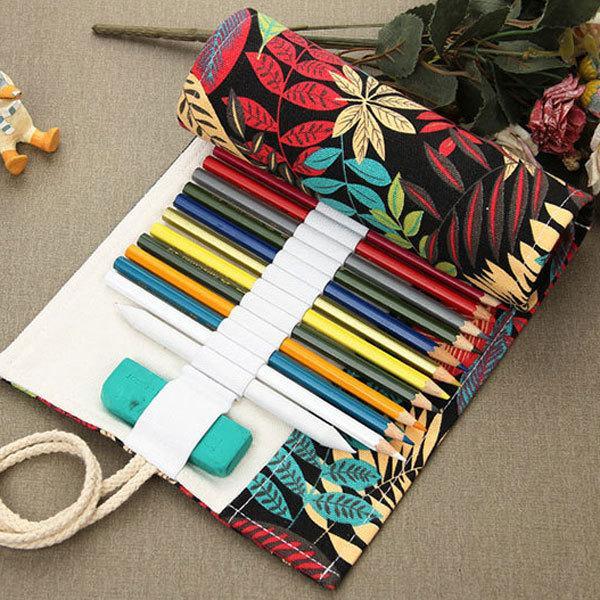 36/48/72 Holes Pencil Case School Canvas Roll Pouch Comestic Makeup Brush Case Pen Storage pecncil box Brush bag painting simple