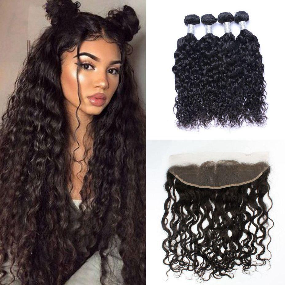 Brazilian Virgin Hair Water Wave with Frontal Wet and Wavy Non Remy Human Hair Bundles with Lace Frontal