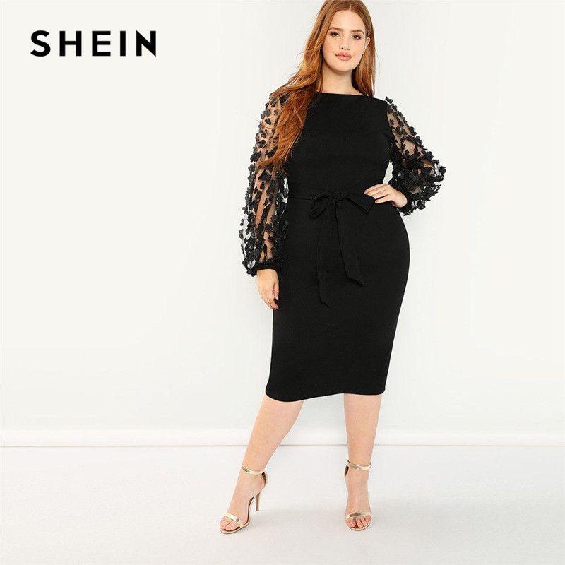 Шеин Женщины Плюс Размер Элегантный черный карандаш платье с аппликацией Mesh фонариков рукавом High Street опоясанный Slim Fit платья партии