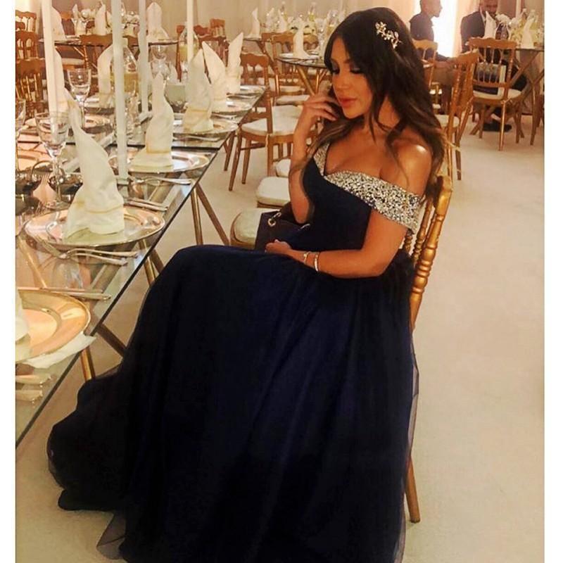 2020 Щедрый Длинные Пром платья Настройка плюс размера бисер с плечом синей линии Тюль Формального вечернее платье