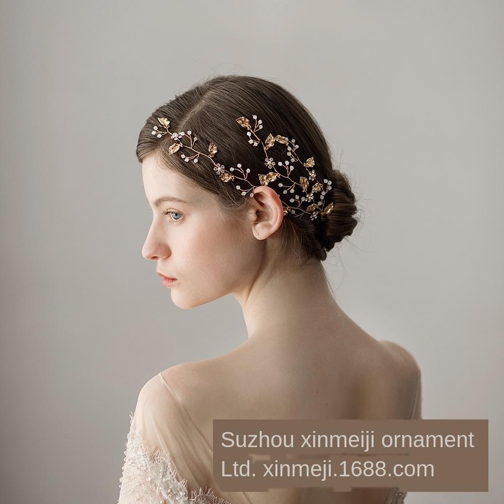 Z0qWm O368 pouco cabelo dourado faixa folha frisada casamento cocar fresco branco leitoso frisado trigeminal nupcial faixa de cabelo vestido de casamento de um
