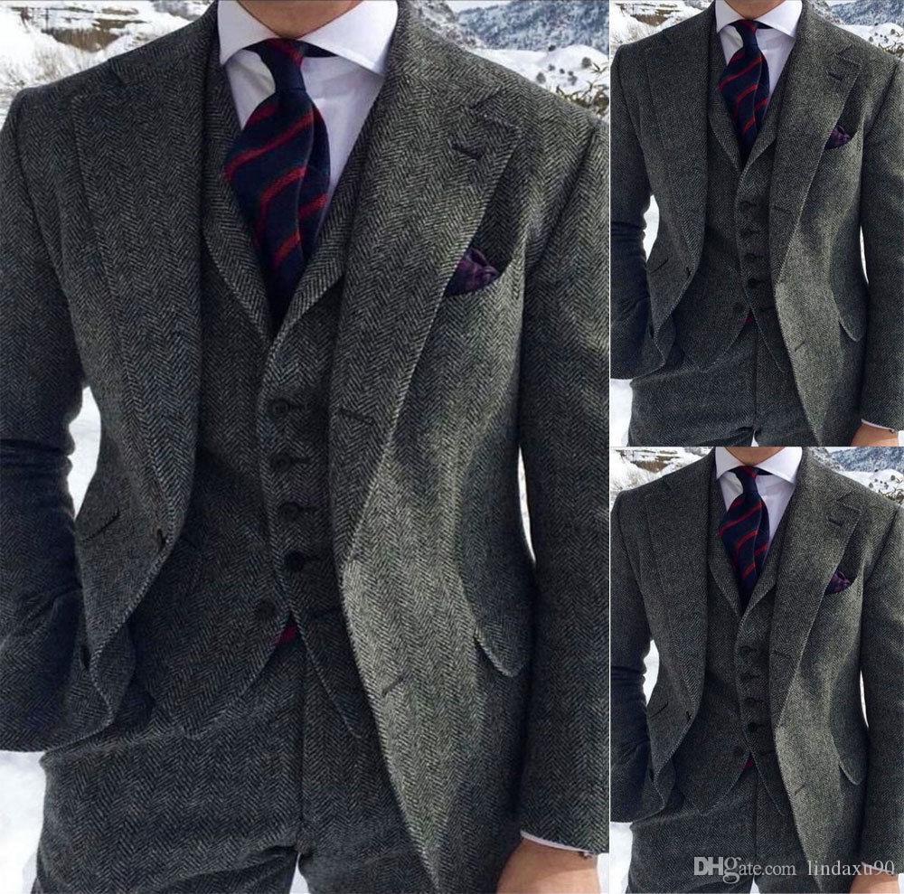 Men/'s Gray Tweed Wool Blazer Suit Herringbone Vintage two Button Tuxedos NEW