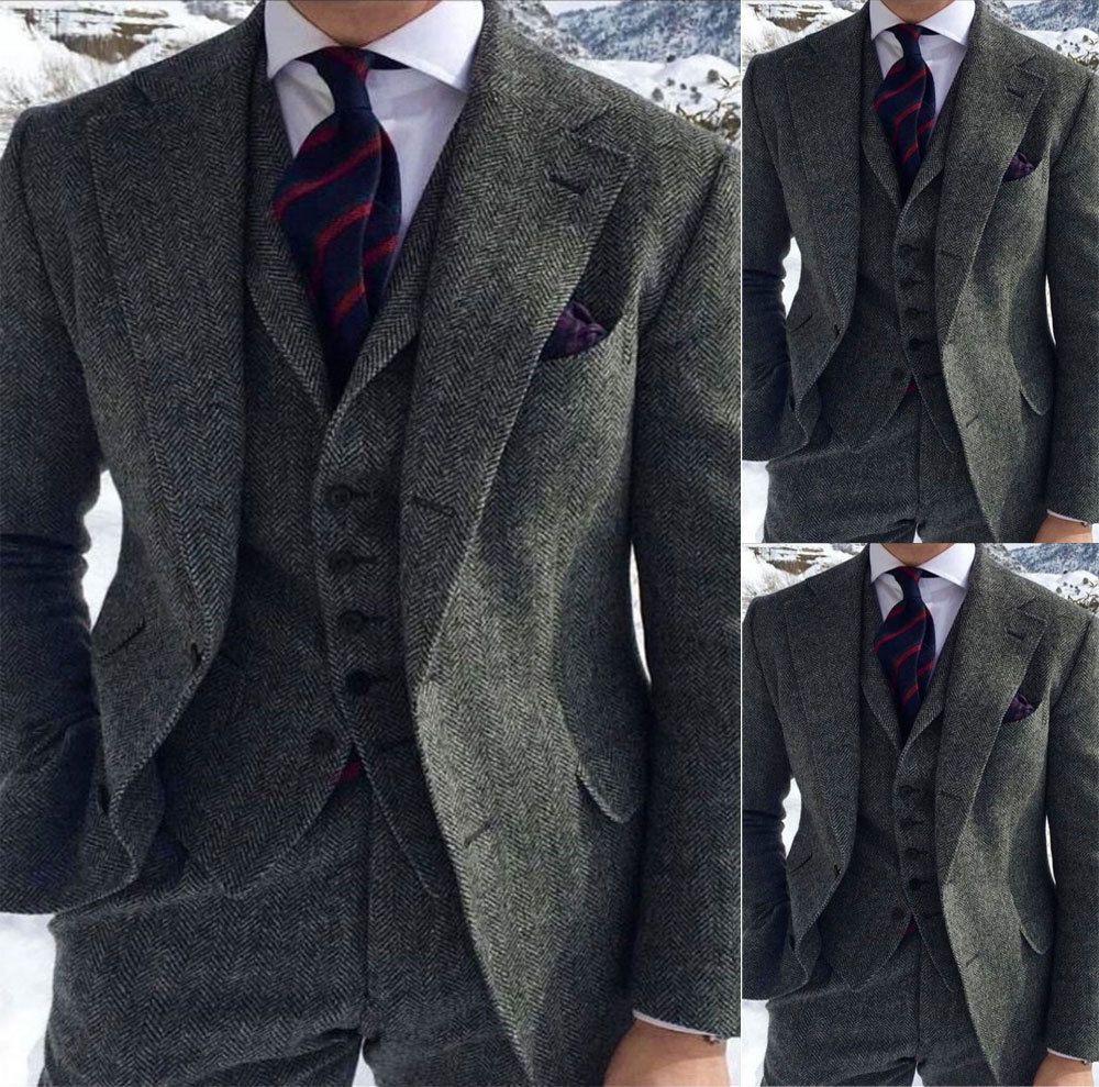 Men's Grey Herringbone Wool Suits 3 Piece Tweed Blend Vintage Peaky Blinder Groom Dress Tuxedos Prom Suit (Jacket+Pants+Vest)