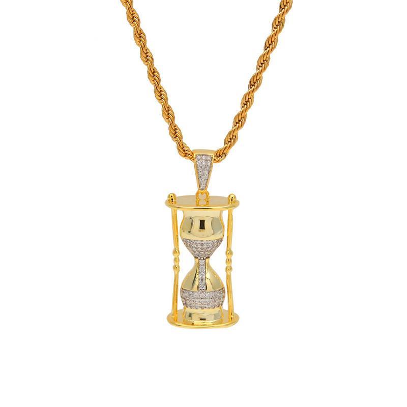 2019 Мода Хип-Хоп Песочные Часы Кулон Ожерелье Для Мужчин Bling Цирконий Лед Из Позолоченный Шарм Мужская Марка Ювелирные Изделия Ожерелья
