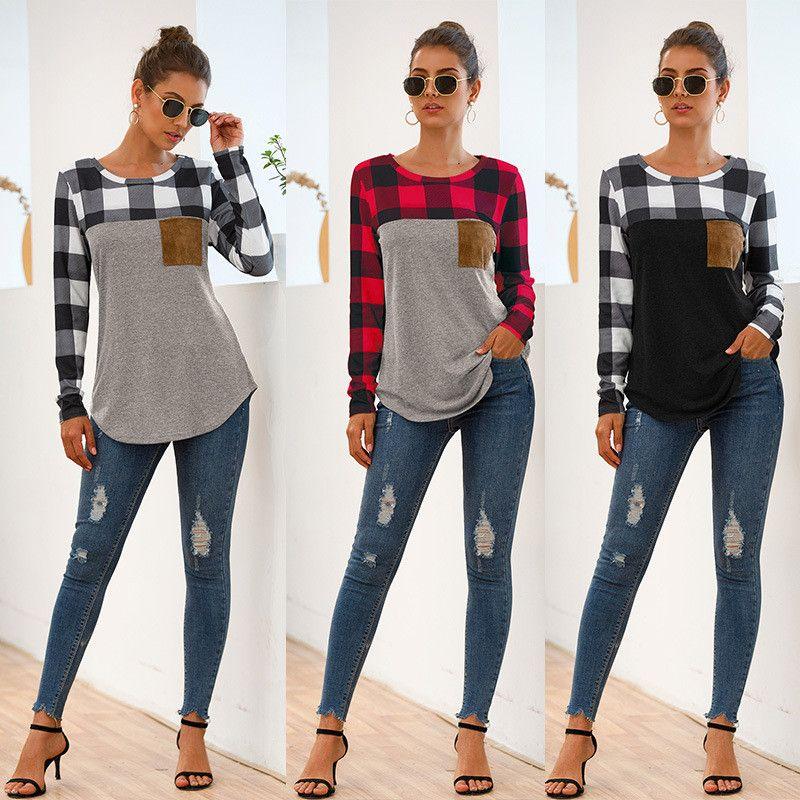 Fashion Herbst Plaid O-Ansatz T-Shirt Hübsches Patchwork Farbe Pullover Beliebte Frauen-beiläufige Pullover der neuen Art-Female Pullover 4 Farben Geschenke