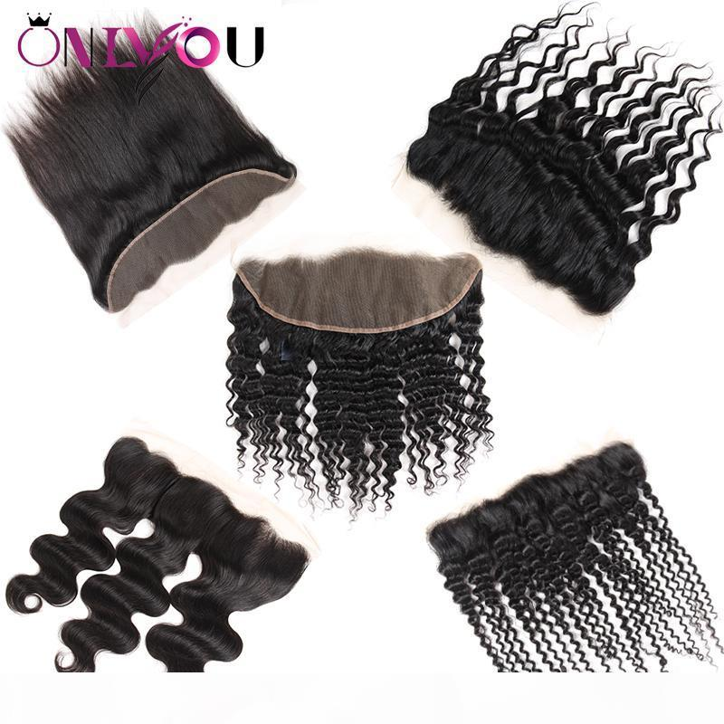 Raw indiano virgem das extensões do cabelo Remy Cabelo Humano Weaves Encerramento Top Lace frontal Encerramento retas Ofertas profunda Kinky Curly por Mulheres Negras