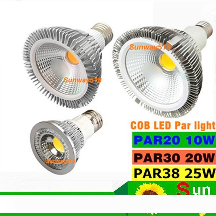2016 NEW COB عكس الضوء لمبة الصمام PAR38 PAR30 PAR20 85-265V 10W 20W 25W E27 E26 الاسمية ضوء LED بقعة إضاءة مصباح النازل ضوء
