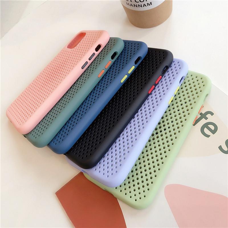 Dissipation thermique Téléphone Housse pour iPhone Pro 11 Max X XR Xs Max 6 7 8 6S Mesh Slim Tpu silicone Respirant Retour cas Promotion