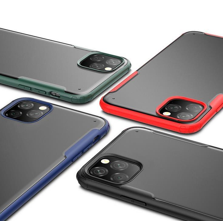 Pour iPhone 11 Pro Max XS XR Clear Case Phone Cover Bicolore TPU PC Airbag Boîtier de protection