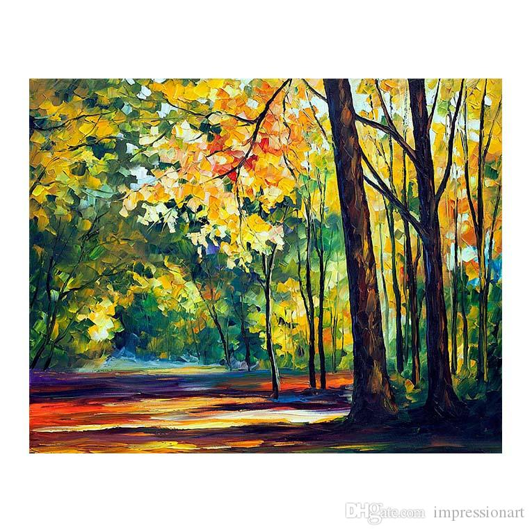 "36""x48"" Canvas oil painting handpainted birch tree forest living room sofa background wall decoration painting European painting forest road"