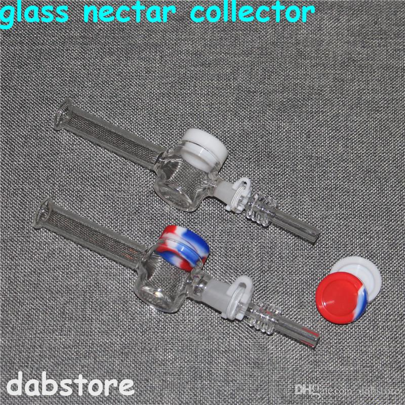 wholesale Mini Nectar Collector Kit With 10mm 14mm quartz Nail Mini Glass Pipe Oil Rig Concentrate Honey Dab Straw Water Pipes
