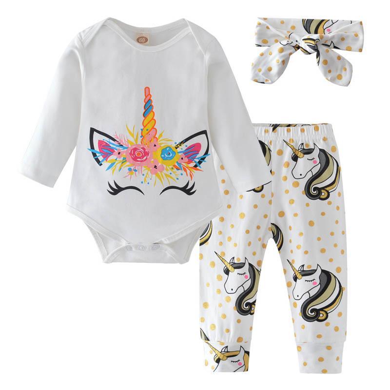 유니콘 아기 소녀 옷은 신생아 복장을 설정합니다. 귀여운 긴 소매 Romper + 바지 바지 Bows 머리띠 유아 여자 정장 A4337