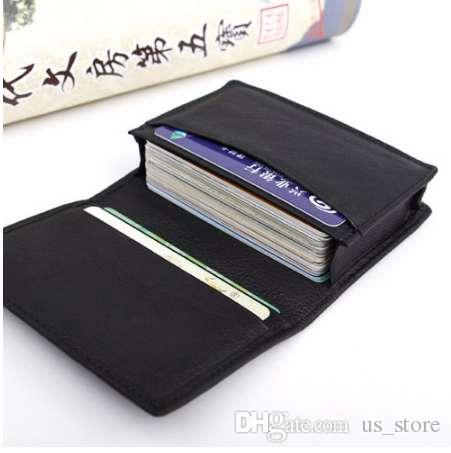 THINKTHENDO Neue Herren Schwarze Leder Kreditkarten ID Visitenkartenhalter Brieftasche Etui Erweiterbar Schwarze Leder Kartenhalter