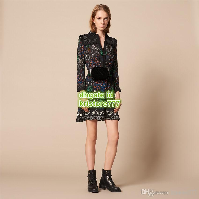 19 Graffiti Female Dress Bohemian Dresses Letters Lace Polyester Long Sleeve Brief Lapel Neck Knee-Length Dress Skirt Shirt Dress 19